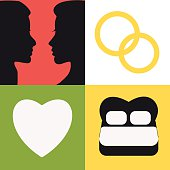 Vector illustration of love icons set