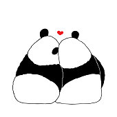 Vector illustration of lovely cartoon panda sitting together on white background. Happy romantic little cute panda. Drawing by hand sketch design for poster, greeting card, t shirt, print, sticker. Creative art of animals in love.