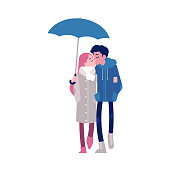 Vector illustration of loving couple kissing under umbrella in flat style isolated on white background - young boy and girl in autumn clothes walking with parasol in rainy weather.