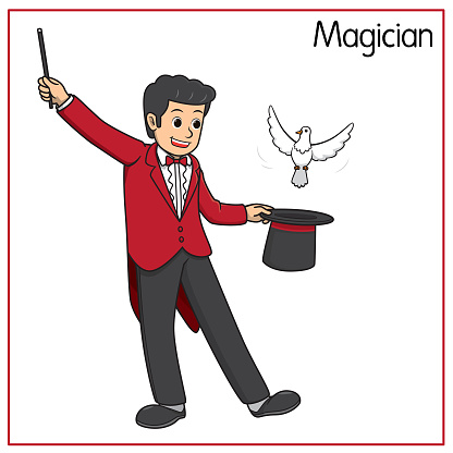 Vector illustration of magician isolated on white background. Jobs and occupations concept. Cartoon characters. Education and school kids coloring page, printable, activity, worksheet, flashcard.