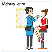 Vector illustration of makeup artist, beauty advisor isolated on white background. Jobs and occupations concept. Cartoon characters. Education and school kids coloring page, printable, activity, worksheet, flashcard.