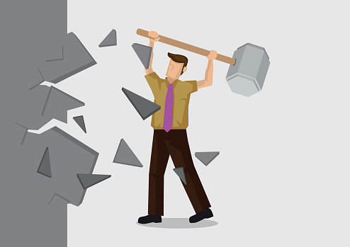 Vector Illustration of man breaking down the wall.