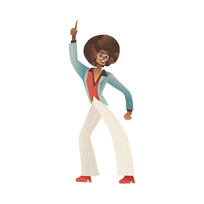 Vector illustration of man dancing disco isolated on white background.