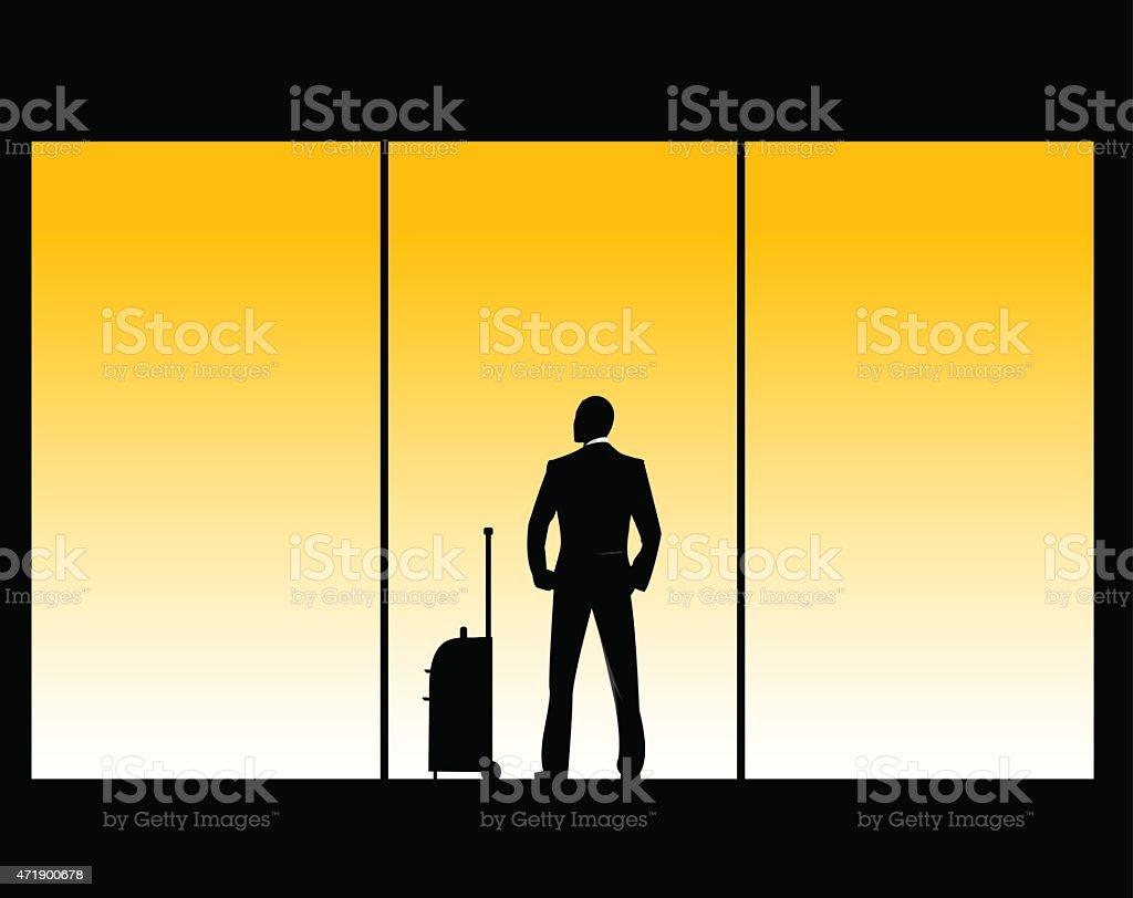 vector illustration of man in airport lounge vector art illustration