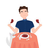Vector Illustration of Man is Enjoing to Eat Meat. Healthy Nutrition Concept of Carnivore Diet. Great for Poster, Banner, Wallpaper. Concept of Meat Lover is Following in Carnivore Diet