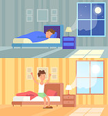 Vector illustration of man sleeping at night and waking up morning. Sleep in comfy bed concept, good morning, start of the day, wake up. Cartoon flat design concept of sleeping and waking up