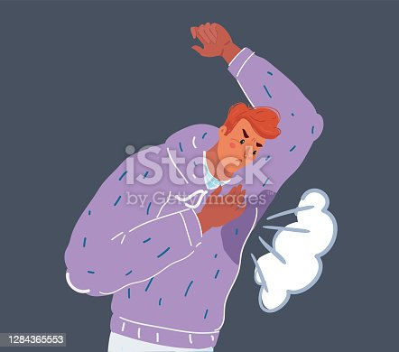 istock Vector illustration of Man with hyperhidrosis sweating very badly under armpit in blue shirt 1284365553