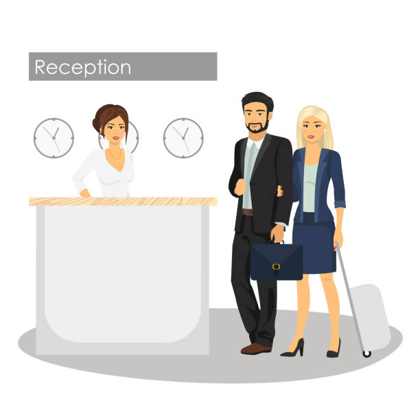 vector illustration of manager and customer at hotel reception desk. concierge service. man and woman arrival or check in at lobby. woman at reception. - hotel reception stock illustrations