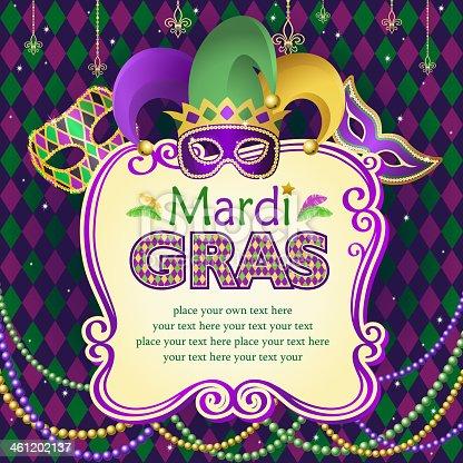 istock Vector illustration of Mardi Gras masks frame 461202137