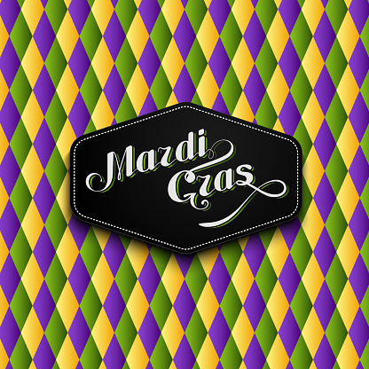 vector illustration of Mardi Gras or Shrove Tuesday lettering label