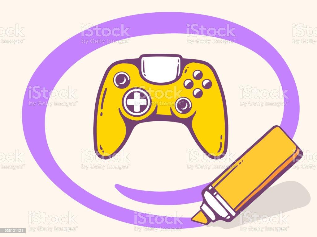 Vector illustration of marker drawing circle around joystick vector art illustration