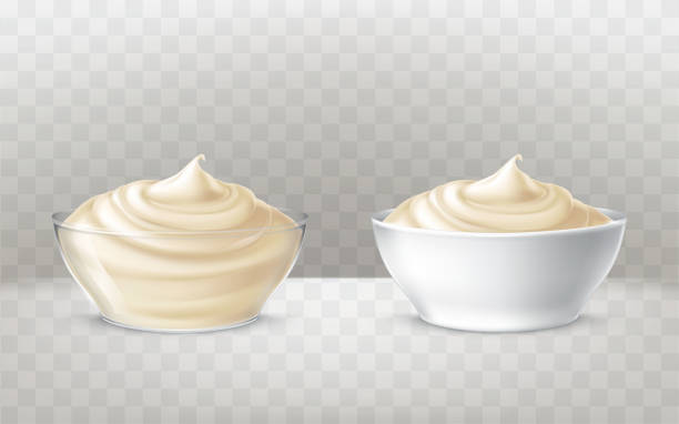 Vector illustration of mayonnaise, sour cream, sauce, sweet cream, yogurt, cosmetic cream Vector illustration of mayonnaise, sour cream, sauce, sweet cream, yogurt, cosmetic cream for face and body, swirling in a transparent and white bowl, in realistic style, isolated. Print, template pudding stock illustrations