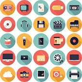 Modern flat icons vector illustration collection with long shadow design effect in stylish colors of  multimedia symbols, sound instruments, audio and video items and objects. Isolated on white background.