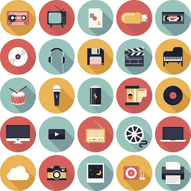vector illustration of media icons - music and entertainment icons stock illustrations