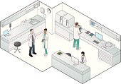Technicians and doctors in a medical laboratory.