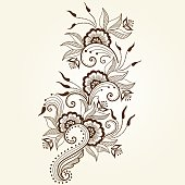 istock Vector illustration of mehndi ornament. Traditional indian style, ornamental floral elements for henna tattoo, stickers, mehndi and yoga design, cards and prints. Abstract floral vector illustration. 955104908