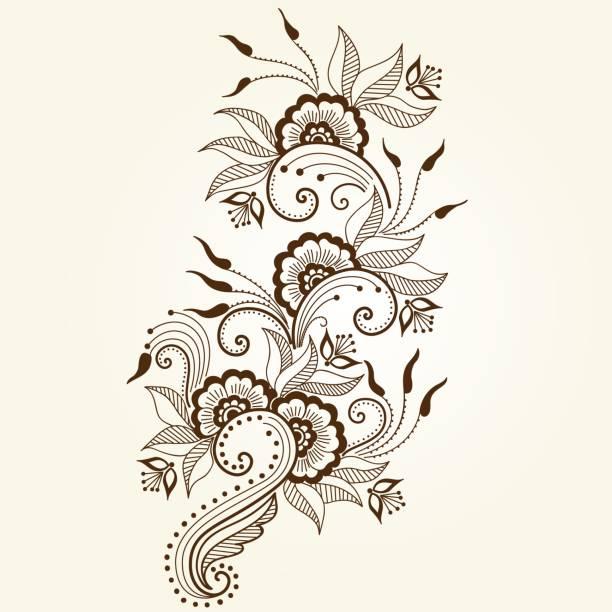 stockillustraties, clipart, cartoons en iconen met vectorillustratie van mehndi ornament. traditionele indiase stijl, decoratieve bloemen elementen voor henna tattoo, stickers, mehndi en yoga design, kaarten en wordt afgedrukt. abstract floral vectorillustratie. - hennatatoeage