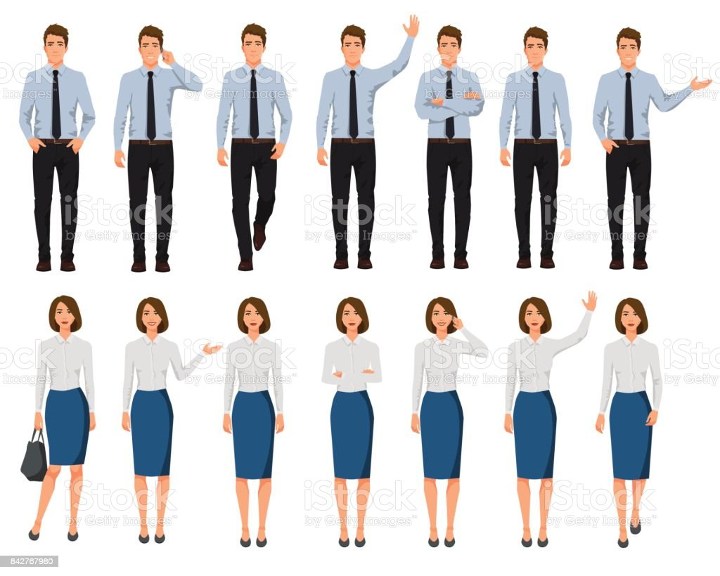 Ilustración de vector de hombres y mujeres en ropa oficial. Conjunto de dibujos animados gente realista. Pose de presentación. Trabajador con la mano hacia arriba. Personas con teléfono en una mano. A poca gente. - ilustración de arte vectorial