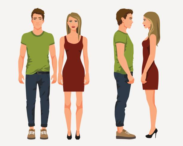 illustrazioni stock, clip art, cartoni animati e icone di tendenza di vector illustration of men in casual clothes and girl with blonde hair in red dress on the white background.cartoon realistic people illustation. flat young couple. front view people, side view people - bello