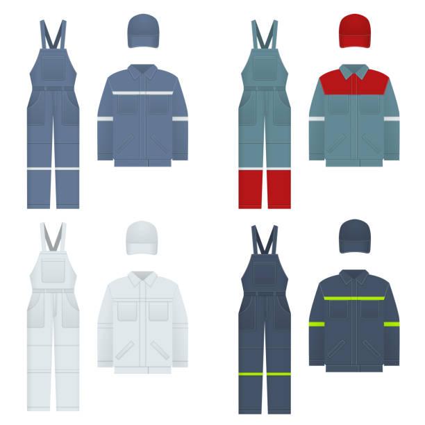 Vektor-Illustration von Men s Overalls. Kleidung im Jeans-Stil, weiß, blau. Uniform für einen Arbeiter, Mechaniker, Fahrer, Lader, Mechaniker. – Vektorgrafik