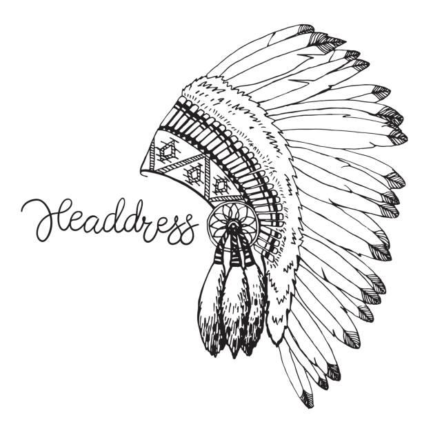 vektor-illustration von merican indian chief kopfschmuck. hand zu zeichnen rouch im rustikalen stil auf weißem hintergrund - kopfschmuck stock-grafiken, -clipart, -cartoons und -symbole