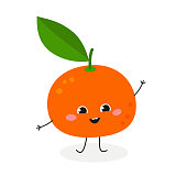 Adorable funny cartoon tangerine waving hand Hi. Vector flat illustration isolated on white background