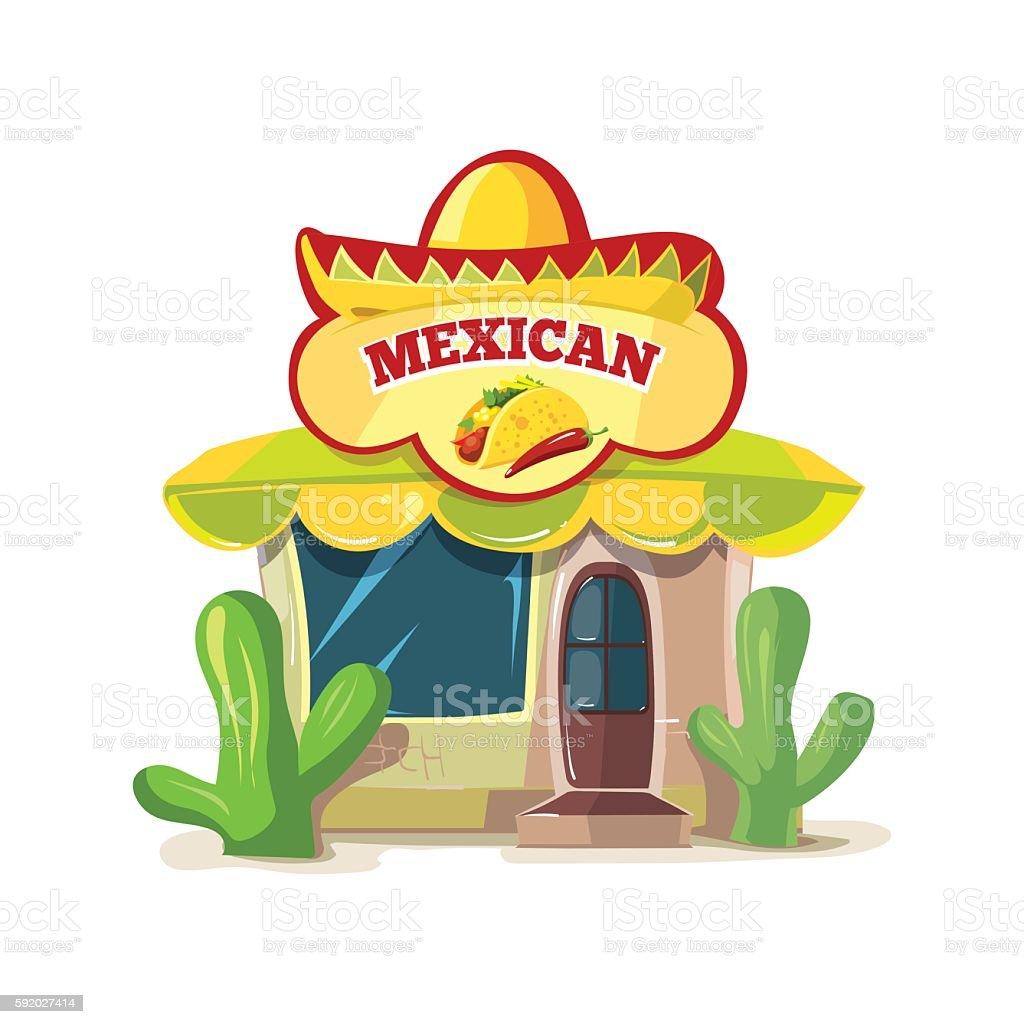 Ilustracion De Vector Illustration Of Mexican Food Bar Or Restaurant Building Facade Y Mas Vectores Libres De Derechos De Alimento Istock