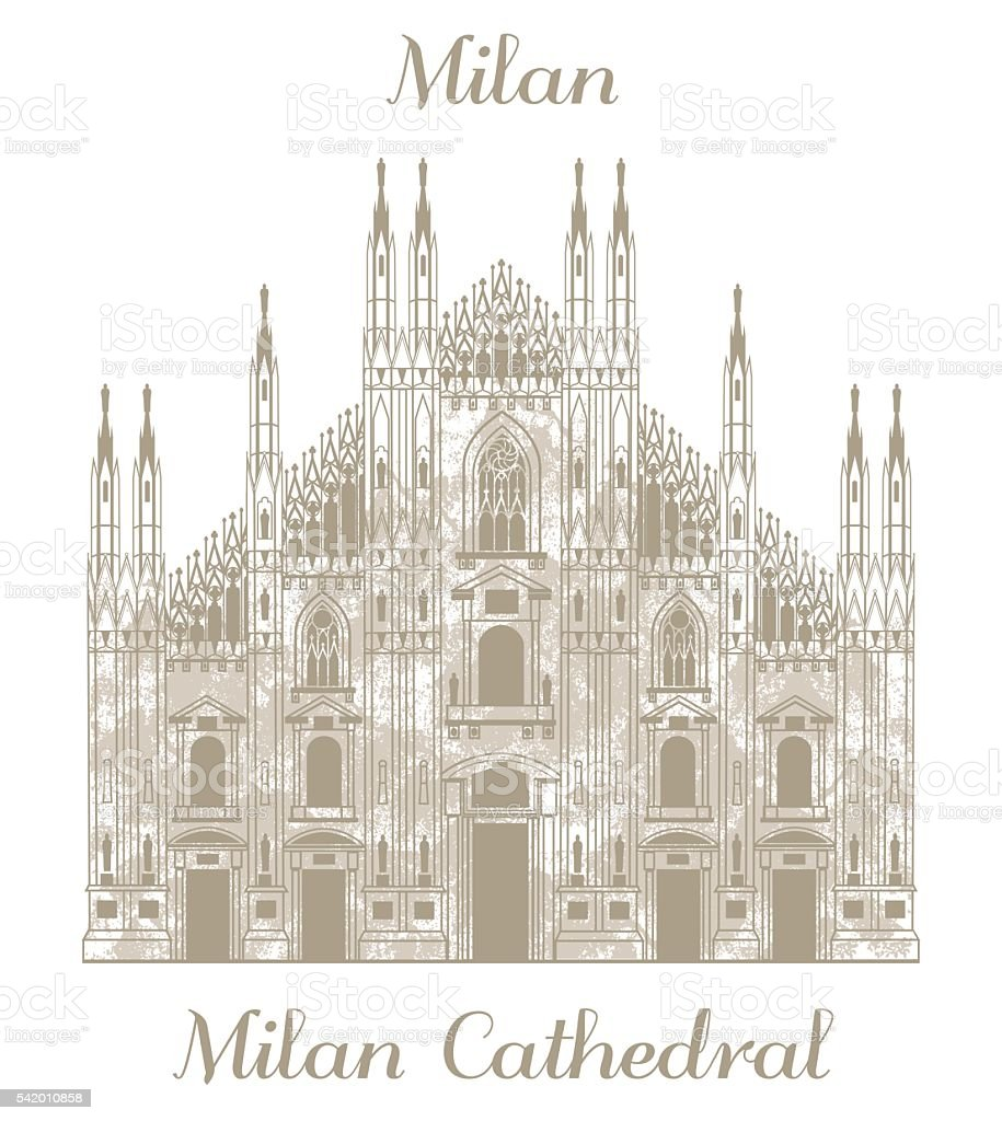 vector illustration of Milan Cathedral
