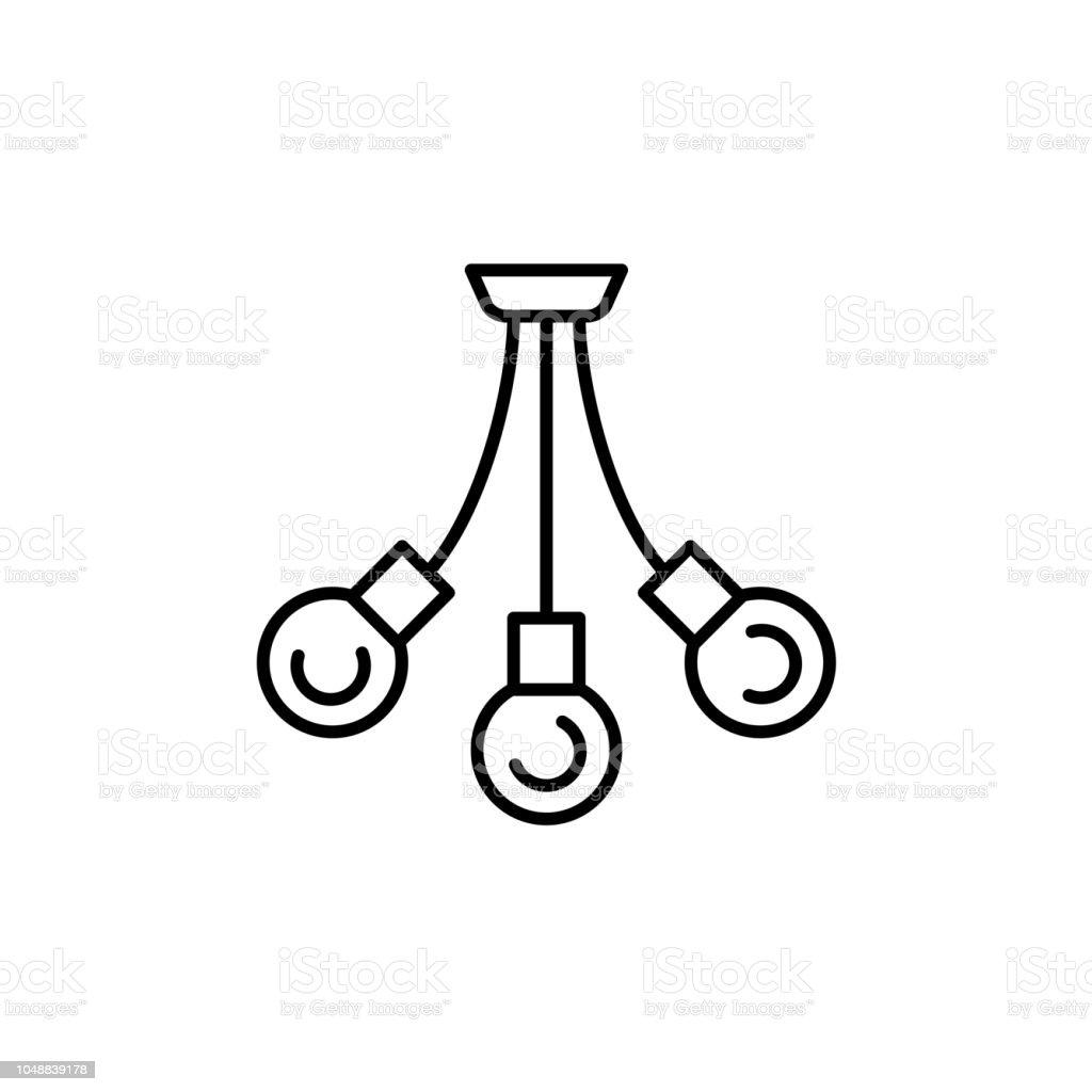 Vektorillustration Der Moderne Deckenleuchte Liniensymbol 3 Lampe