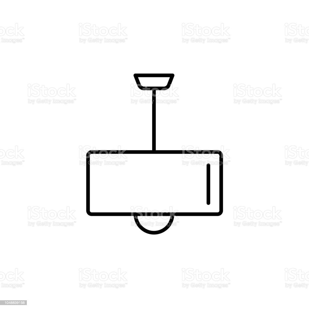 Vektor Illustration Der Moderne Deckenleuchte. Liniensymbol Der Trommel  Licht. Einfache Anhänger Für Haus