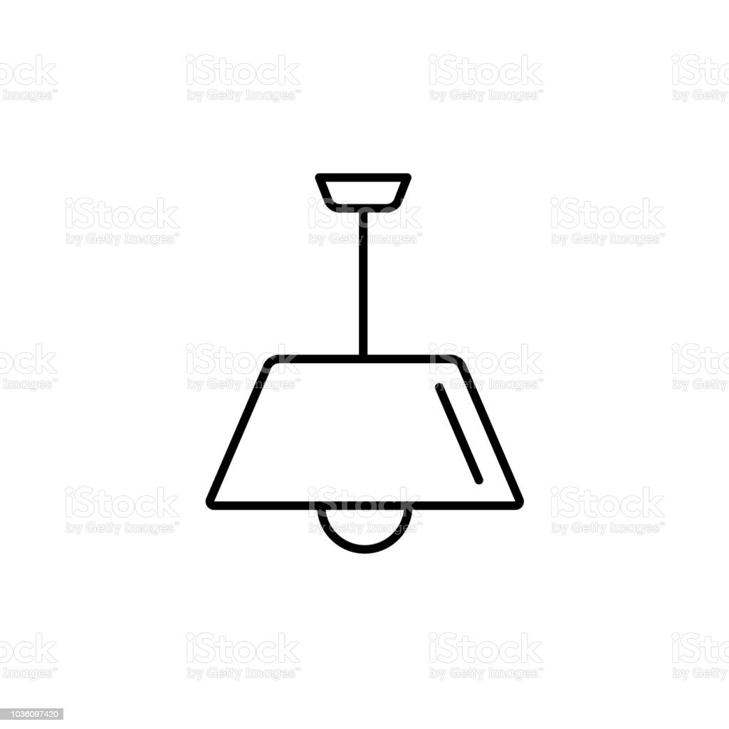Vector Illustration Of Modern Ceiling Lamp Line Icon Of Pendant Light Simple Chandelier For Kitchen Or Hallway Home Lighting Isolated On White Background Stock Illustration Download Image Now Istock