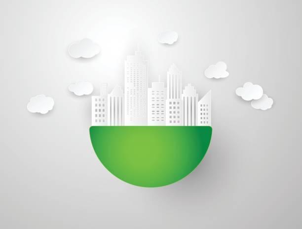 stockillustraties, clipart, cartoons en iconen met vectorillustratie voor moderne stad papercut - dubbelopname businessman