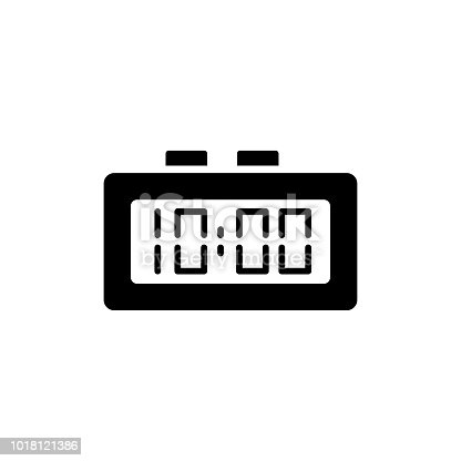 Vector illustration of modern digital desk clock. Flat icon of table alarm clock displaying time with numerals. Isolated object on white background.