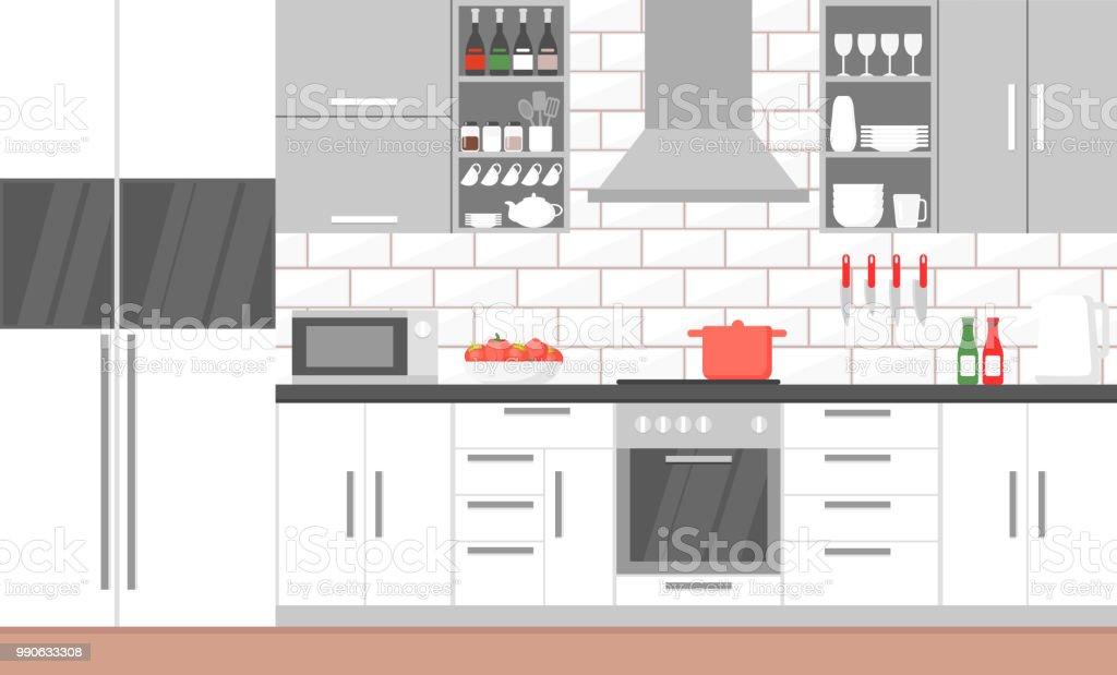 Vektorillustration Des Inneren Der Moderne Kuche Mit Herd Schrank Geschirr Und Kuhlschrank Gerate Kuchenmobel Bannerkonzept In Flachen Stil Kochen Stock Vektor Art Und Mehr Bilder Von Arbeitsplatte Istock
