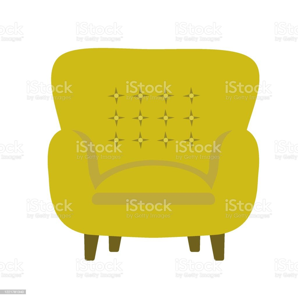 Picture of: Vector Illustration Of Modern Soft Upholstered Armchair From Mustard Yellow Velvet Fabric With Buttontufted Backrest Padded Seat On Wooden Legs Stock Illustration Download Image Now Istock
