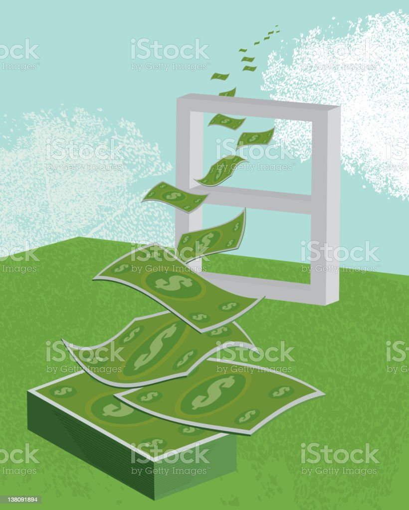 Vector illustration of money flying out the window vector art illustration