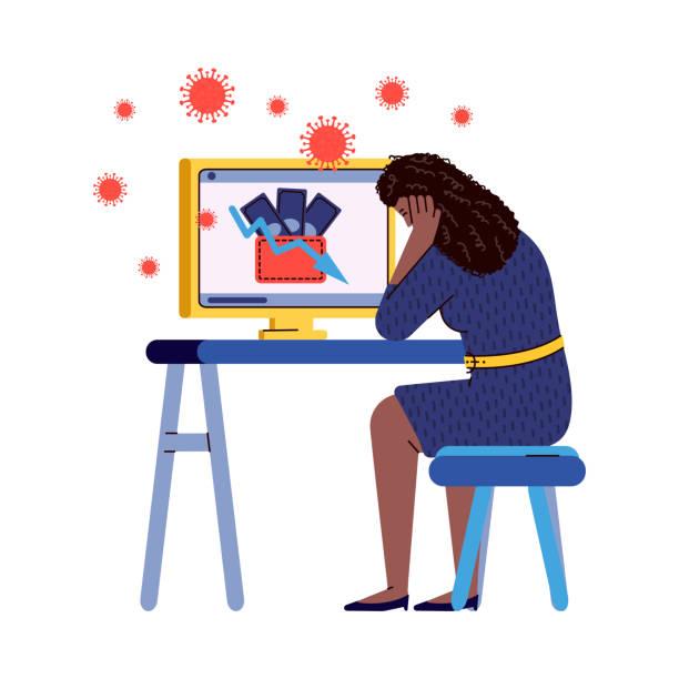 stockillustraties, clipart, cartoons en iconen met vector illustratie van geldverlies als gevolg van het coronavirus pandemie. - tears corona