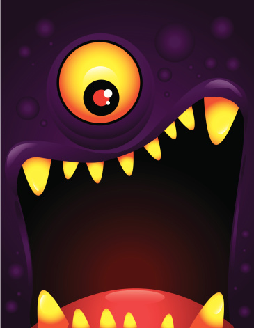 Vector illustration of monster with open mouth
