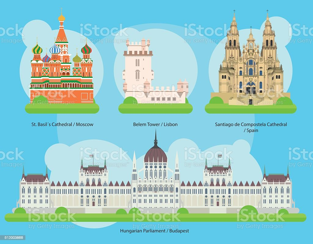 Vector illustration of Monuments and landmarks in Europe Set 2 vector art illustration