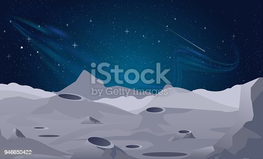 Vector illustration of Moon landscape background with beautiful night sky