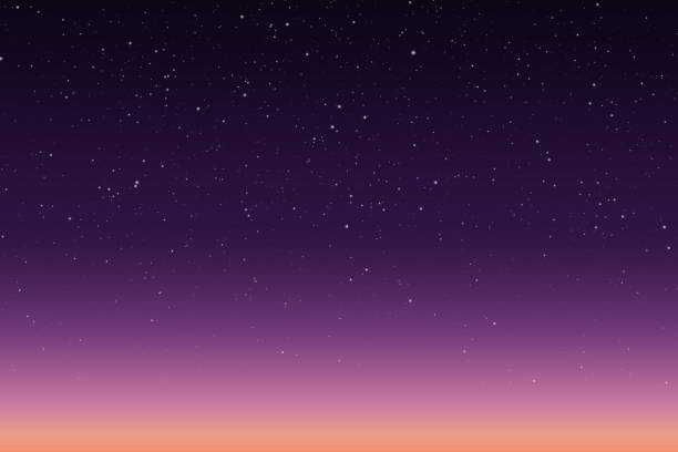 Vector illustration of morning or evening starry sky with sunrise or sunset Vector illustration of morning or evening starry sky with sunrise or sunset twilight stock illustrations