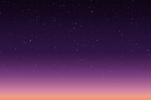 朝または夜の日の出や夕日と星空のベクトル イラスト - 夜明け点のイラスト素材/クリップアート素材/マンガ素材/アイコン素材