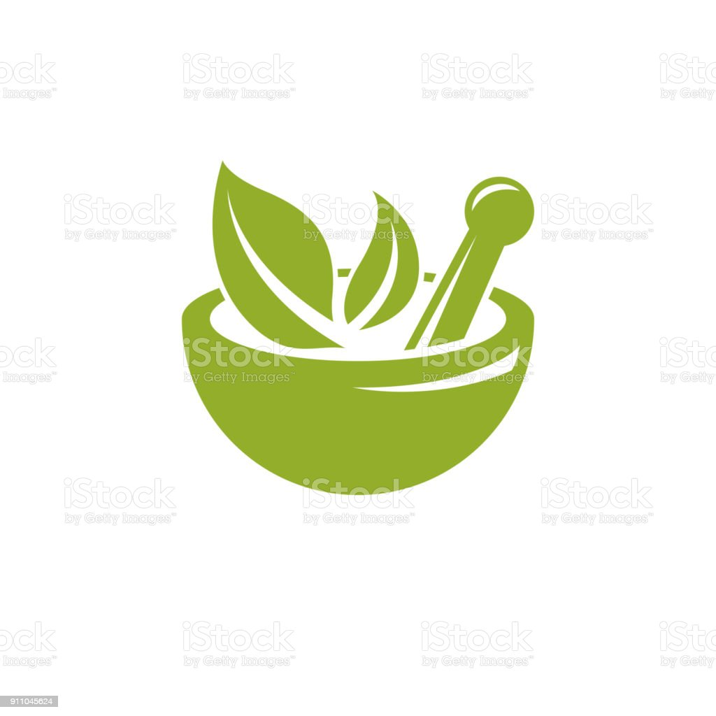 Vector illustration of mortar and pestle isolated on white. Alternative medicine concept, phytotherapy symbol. vector art illustration