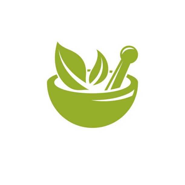 Vektor-Illustration von Mörser und Pistill isoliert auf weiss. Alternative Medizin-Konzept, Phytotherapie-Symbol. – Vektorgrafik