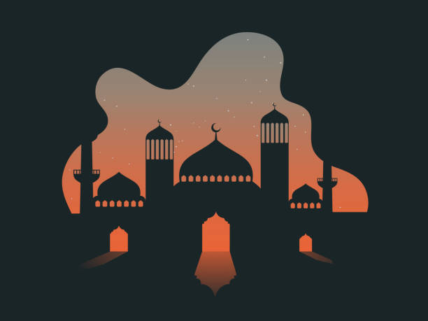 Vector illustration of mosque on abstract stars night background. Vector illustration of mosque on abstract stars night background. eid mubarak stock illustrations