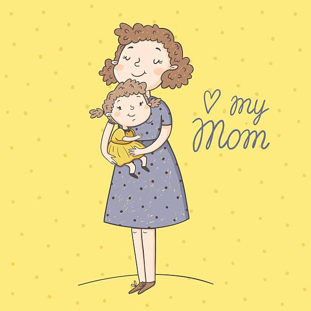 のベクトルイラストレーション母と娘 - 娘点のイラスト素材/クリップアート素材/マンガ素材/アイコン素材