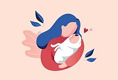 Vector Illustration Of Mother Holding Baby In Arms. Floral Background.