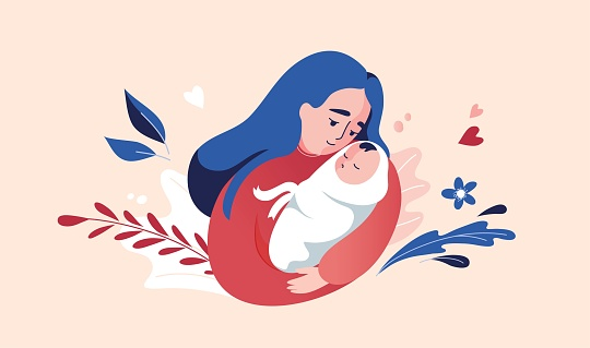Vector Illustration Of Mother Holding Baby In Arms.