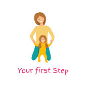 Vector illustration of mother supporting daughter. Mummy teaching to walk her baby toddler. Little girl doing her first step. Concept design for mother's day isolated on white background in flat style