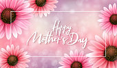 Vector illustration of mother's day greetings banner template with blooming gerbera flowers and hand lettering quote - happy mothers day on blur background.